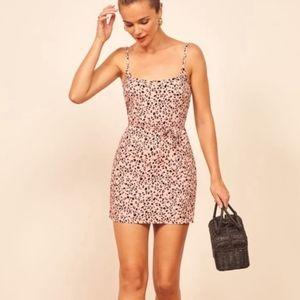 NEW Reformation Vivette mini dress cheetah pink XS